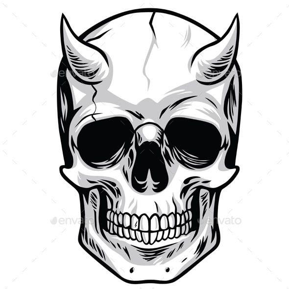 590x590 Demon Head Skull Vector Fonts Logos Icons Skull Illustration