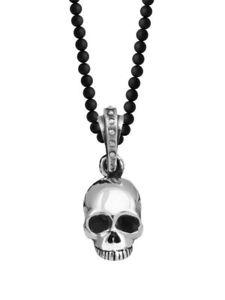 225x300 King Baby Studio Hamlet Skull Sterling Silver Onyx Bead Necklace