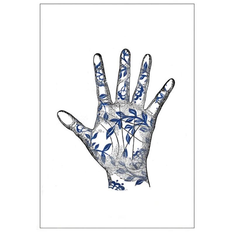 794x794 Blue White Hand Anatomy Palm Porcelain Print Vintage Etsy