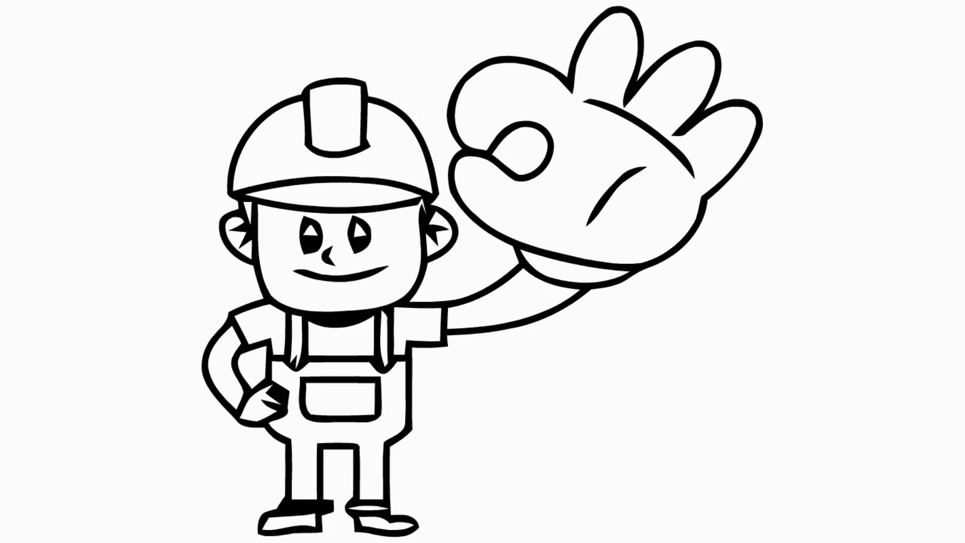 1920x1080 Worker With Big Hand Cartoon Illustration Hand Drawn Animation