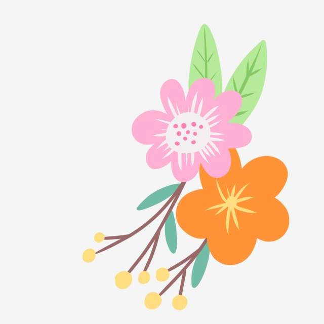 640x640 hand drawn cute decorative flowers, nature, hand drawn, drawing