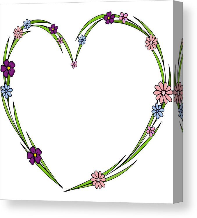 677x750 hand drawn flowers arranged in a shape of heart doodle style