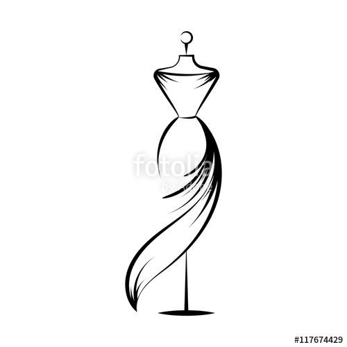 500x500 Dummy Dress Hand Drawing Illustration Vector Stock Image