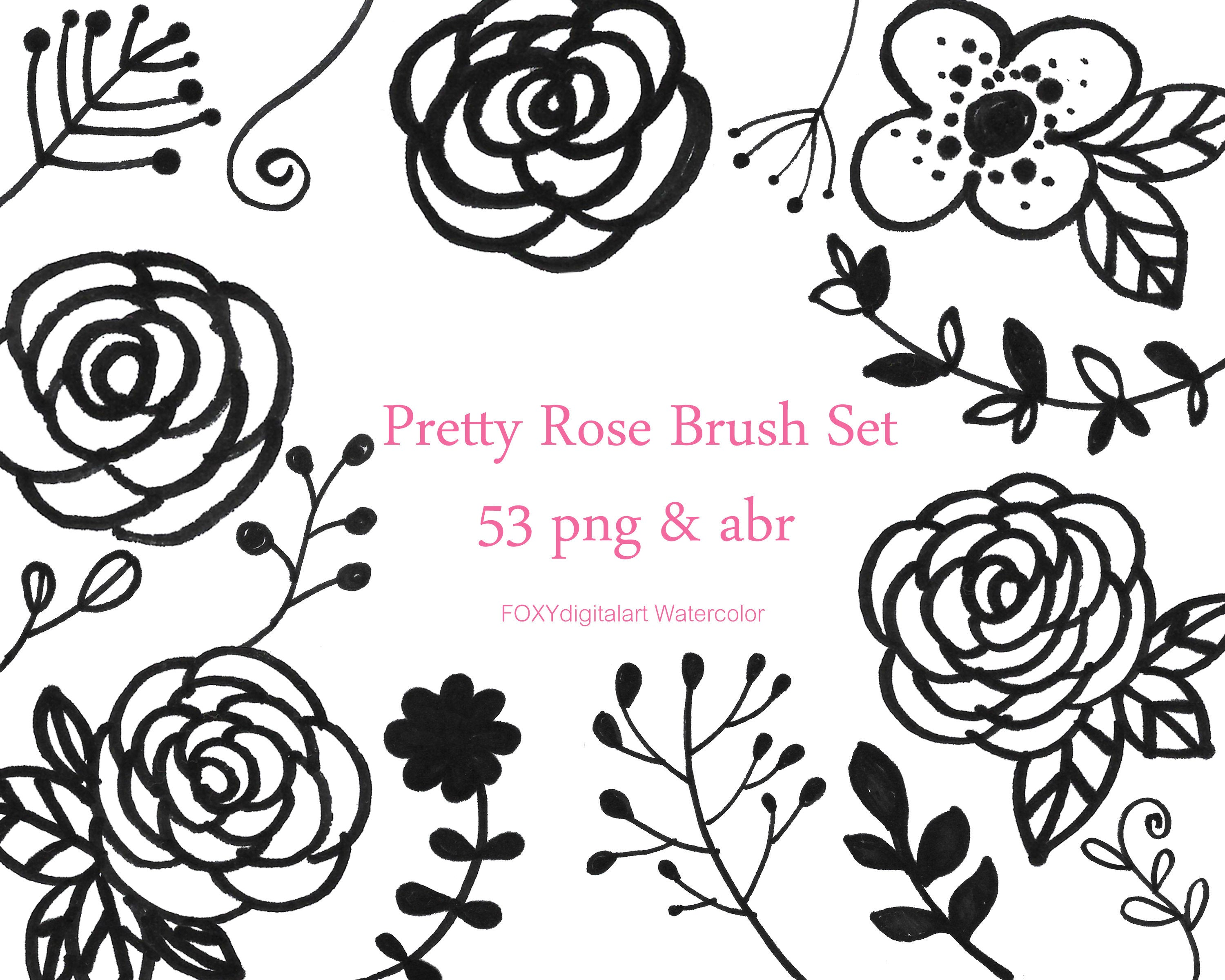 3000x2400 Flower Doodles Floral Digital Stamps Foliage Photoshop Etsy
