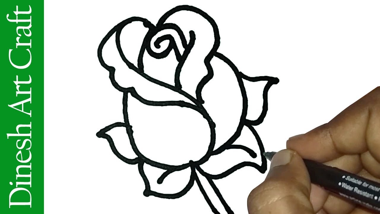 1280x720 How To Draw Rose Easy Rose Drawing For Kids Valentine's Day