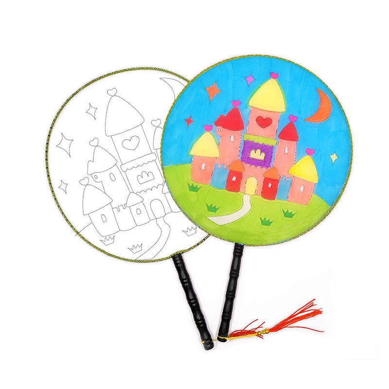 800x800 Buy Pcs Round Fan Children Diy Hand Drawing Palace Fan Without