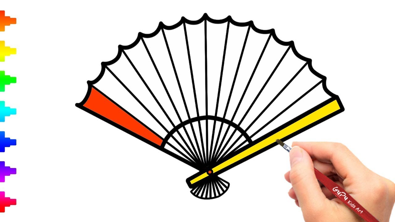 1280x720 Chinese Fan Drawing And Coloring How To Draw Chinese Fan