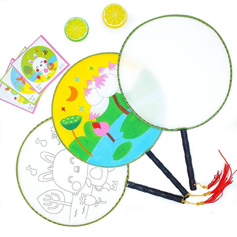 800x800 New! Blank White Round Fan Wooden Handle Kidgarden Art Class