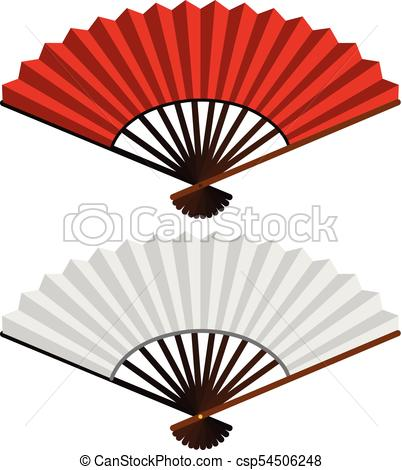402x470 Two Hand Fans In Red And White Illustration