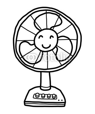 333x400 Fan Cartoon Vector And Illustration, Black And White, Hand Drawn