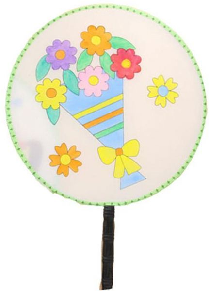 431x600 Diy Chinese Art Round Fan Baby Drawing Blank Silk Fans