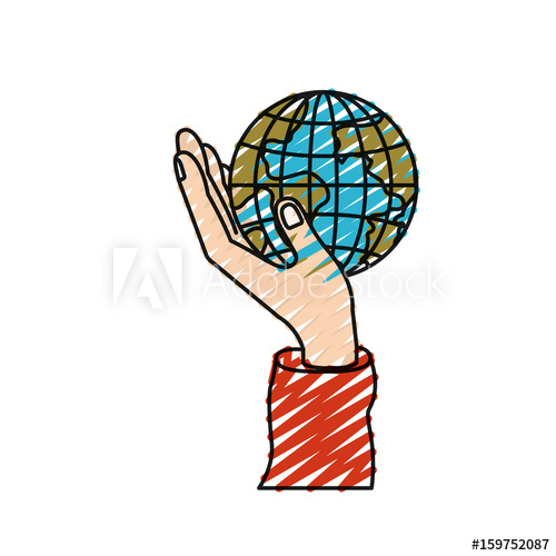 500x500 Color Crayon Silhouette Hand Holding In Palm A Earth Globe World