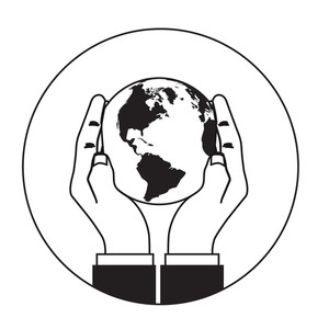 300x300 Hand Holding See Thru Glass Globe Royalty Free Vectors