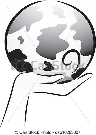 333x470 Black And White Globe Black And White Illustration Of A Hand
