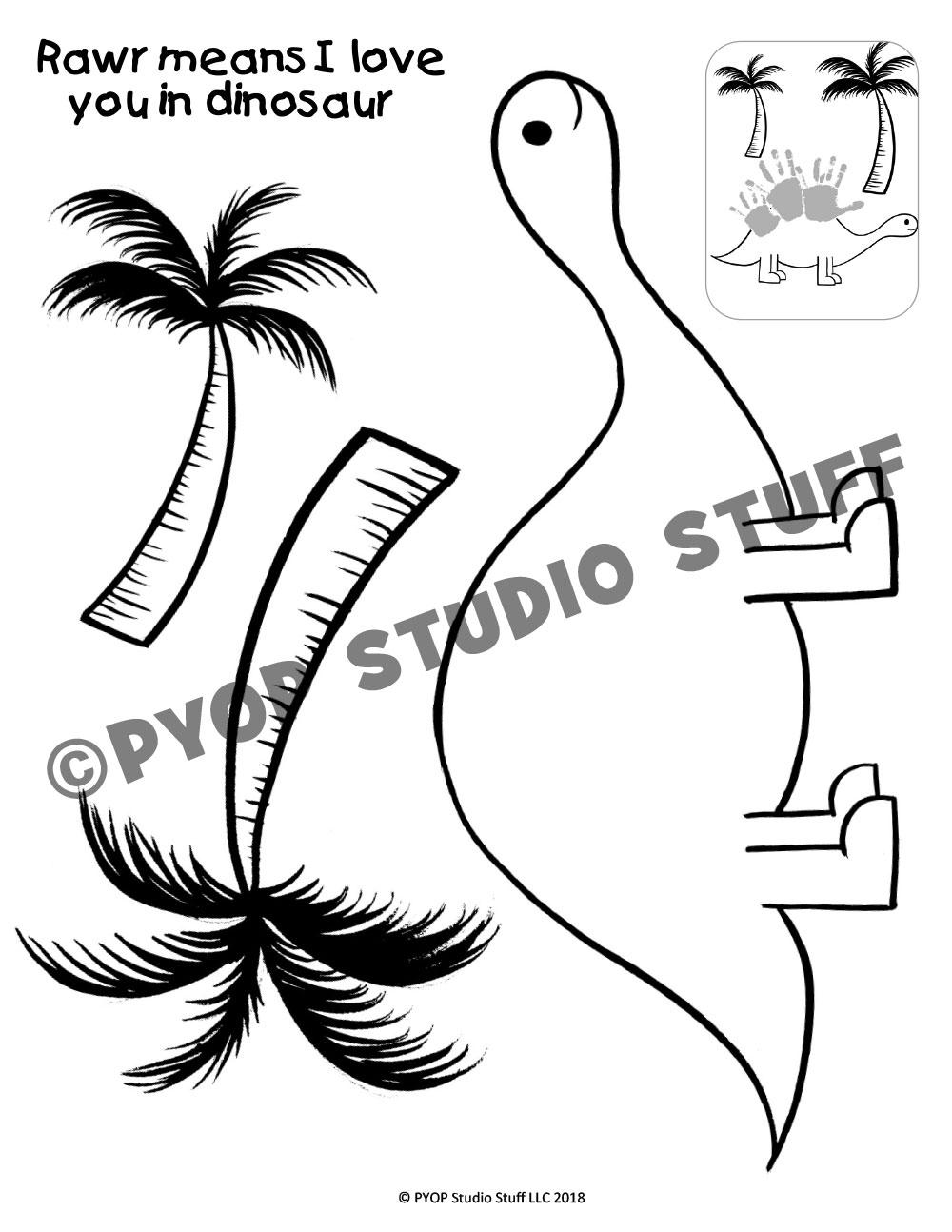 1000x1294 Handprint Dinosaur Pyop Studio Stuff