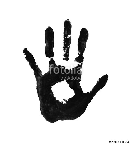 453x500 Imprint Of The Palm Hand In Paint Watercolor Handprint On Paper