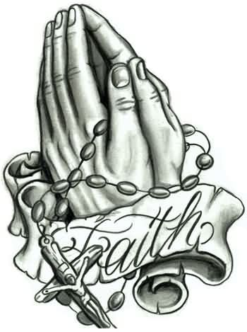 350x469 Praying Hands With Rosary Bead Tattoo Design Tattoos
