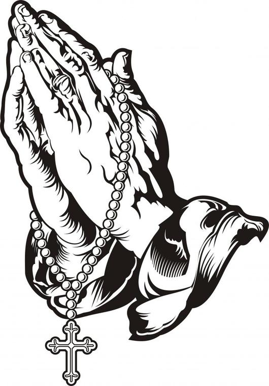 530x759 Praying Hands With Rosary Wall Decal