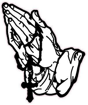 305x364 Rosary Praying Hands Aussie Decal Solidblack Background Size