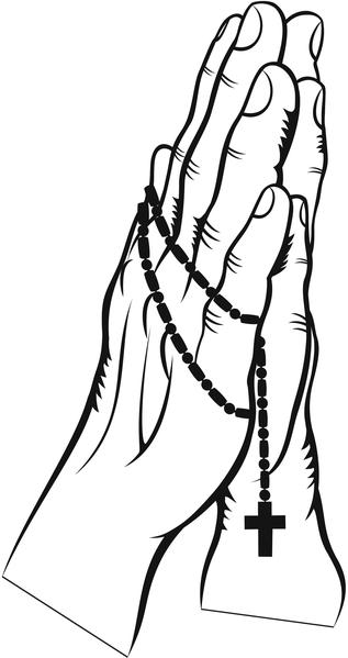 317x599 Simple Praying Hands With Rosary Vinyl Decal Sticker Shinobi