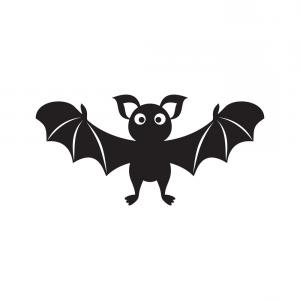 300x300 Continuous Line Drawing Black Halloween Bat Silhouette Vector