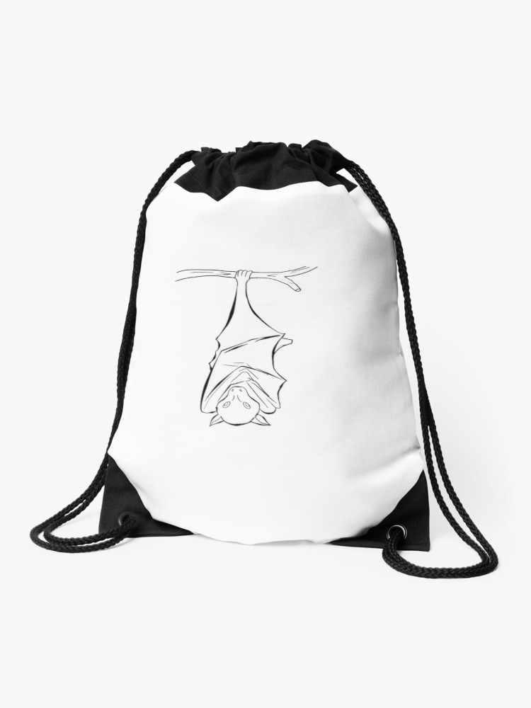 750x1000 Fruit Bat Hanging Sketch Drawstring Bag