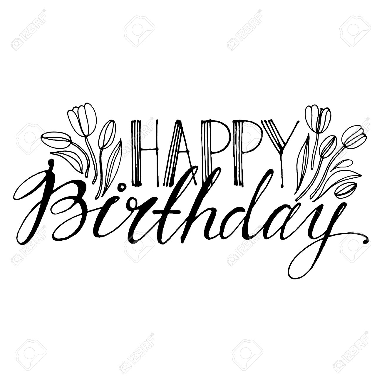 Happy Birthday Line Drawing Free Download Best Happy