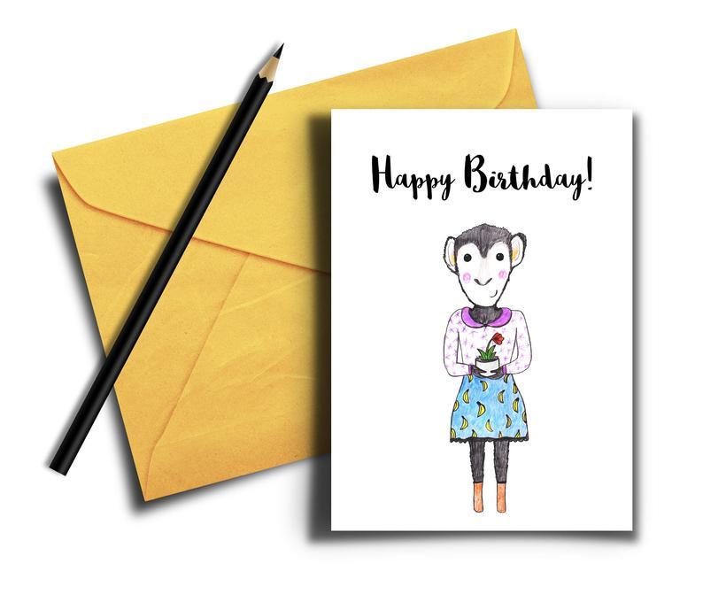 794x680 monkey birthday card cute happy birthday card birthday card etsy