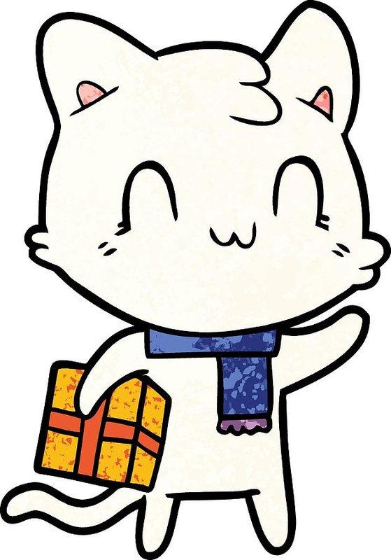 559x800 Cartoon Happy Cat Wearing Scarf Art Print