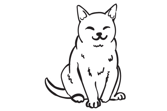 580x386 Drawing Of A Happy Cat