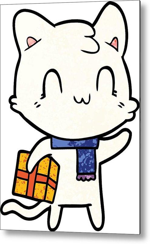494x805 Cartoon Happy Cat Wearing Scarf Metal Print