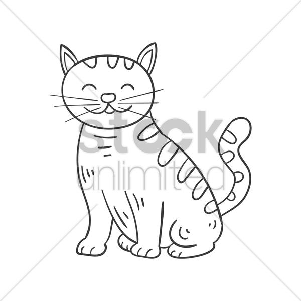 600x600 Happy Cat Vector Image