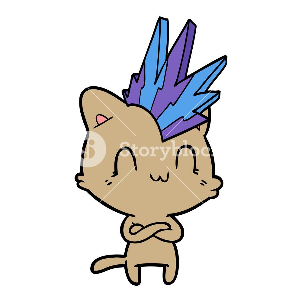 1000x1000 Cartoon Happy Cat Punk Royalty Free Stock Image