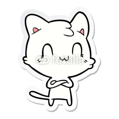 400x400 Sticker Of A Cartoon Happy Cat Buy Photos Ap Images Detailview