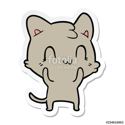 500x500 Sticker Of A Cartoon Happy Cat Stock Image And Royalty Free