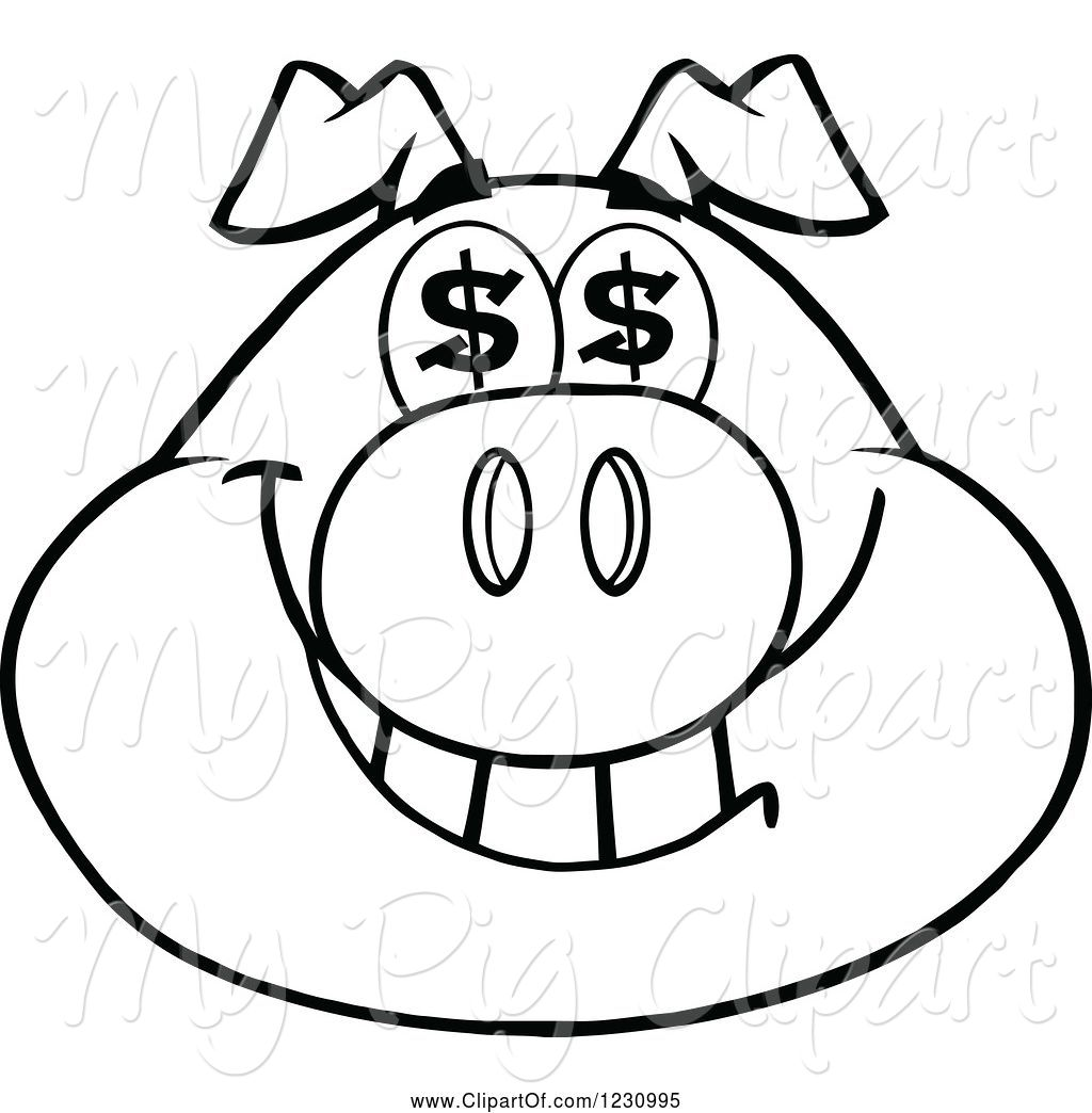 1024x1044 Swine Clipart Of Cartoon Outlined Pig Head With Dollar Eyes