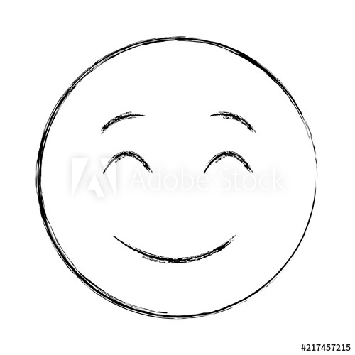 500x500 Smiley Face Happy Closed Eyes Emoji Hand Drawing Design