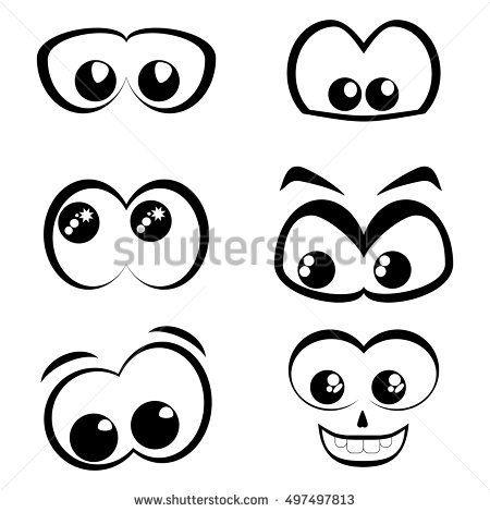 450x470 Cartoon Eyes Black And White Set Vector Icon Art Stuff