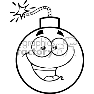 300x300 Royalty Free Rf Clipart Black And White Happy Bomb Face