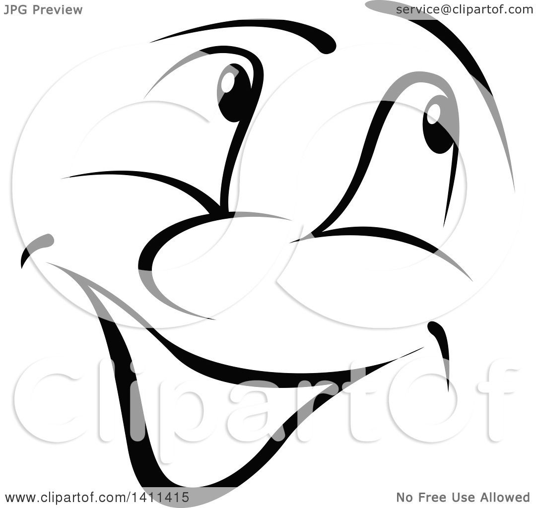 1080x1024 Clipart Of A Black And White Cartoon Happy Face