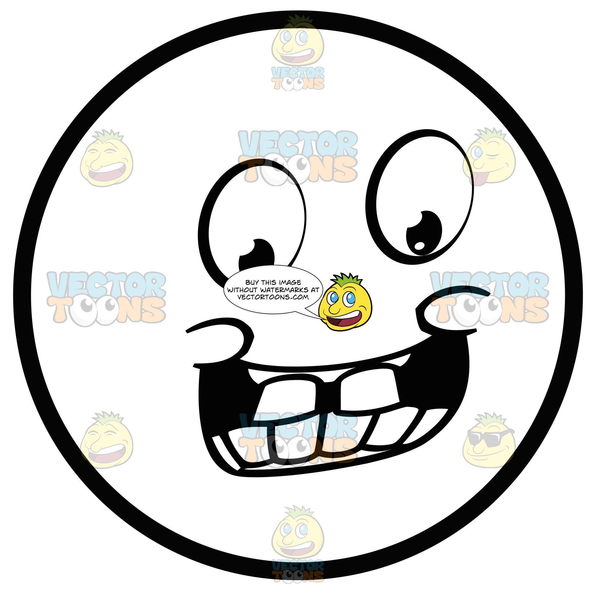 2000x2000 jolly large eyed black and white smiley face emoticon with pudgy