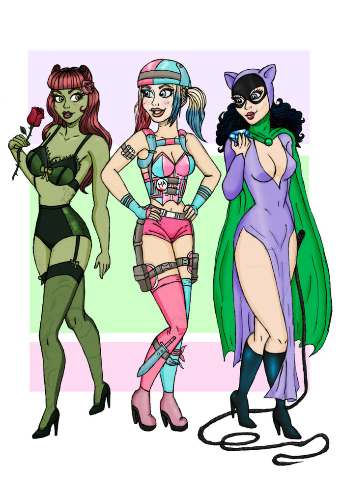 694x1000 Art Print Gotham City Sirens Drawing Picture Harley Quinn