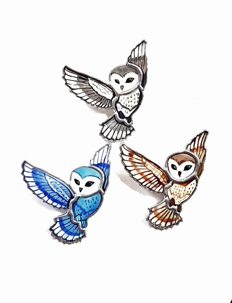 794x1040 Stained Glass Brooch Owl Harry Potter Art Etsy