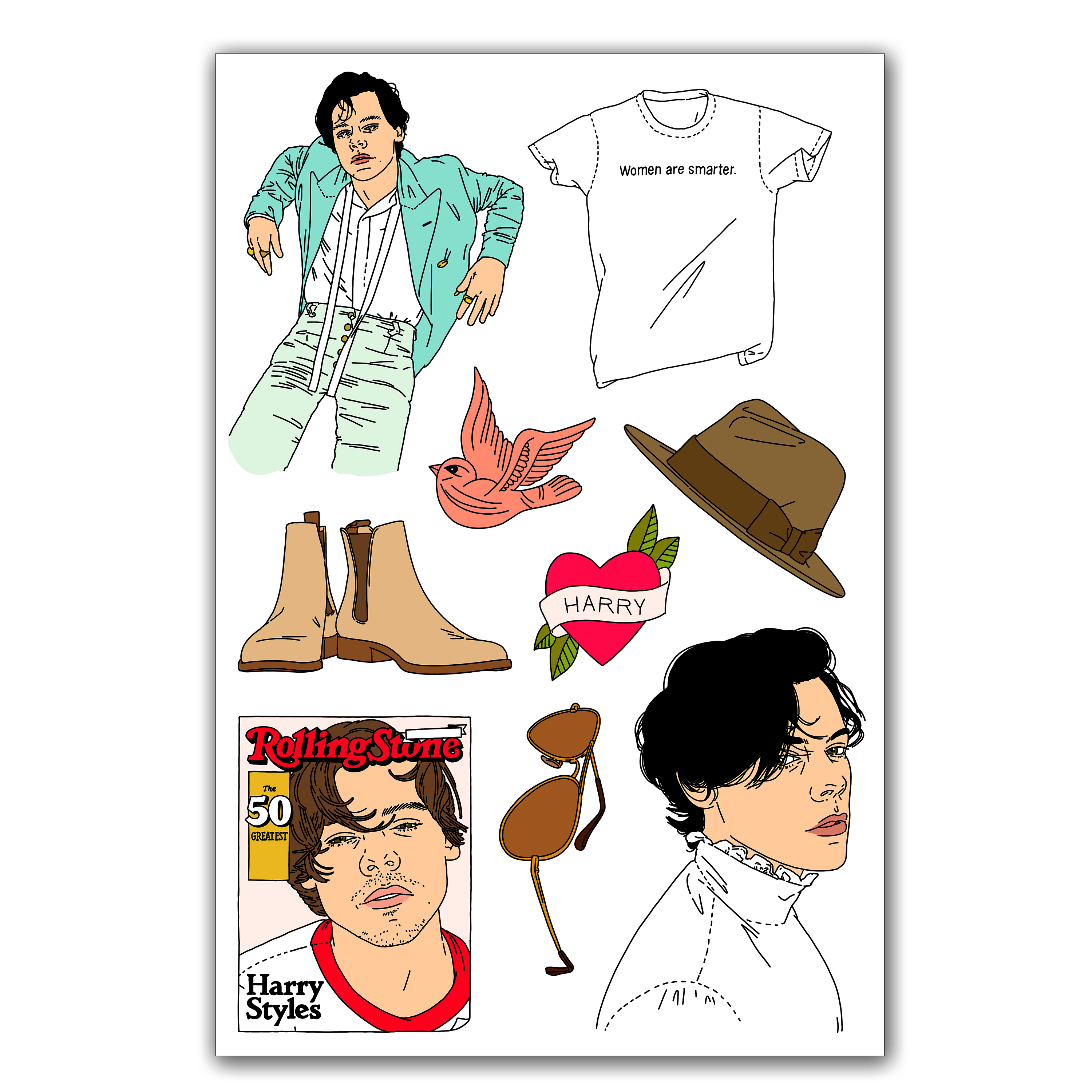 3000x3000 Living Beauty Harry Styles Temporary Tattoos Pack
