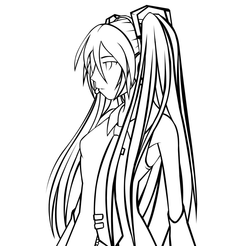 1024x1024 Vocaloid Lineart Black And White For Free Download