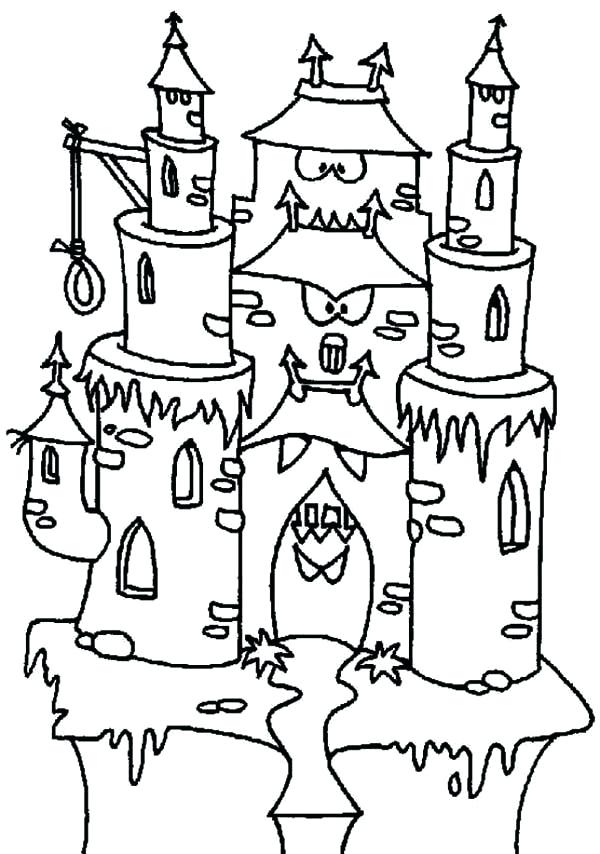 600x854 haunted house coloring pages printables cartoon haunted house