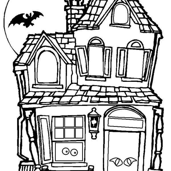 600x600 haunted house coloring pages halloween haunted house coloring