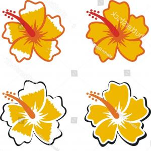 300x300 Stock Illustration Hawaiian Flower Vector Set Hibiscus Oleander