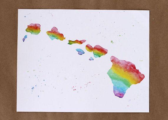 570x407 Hawaiian Islands Rainbow Painting, Hawaii, Aloha State, Watercolor