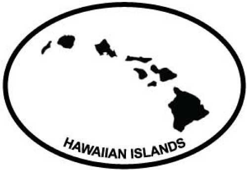 500x345 Hawaiian Islands Oval Euro Bumper Sticker Oval Envy